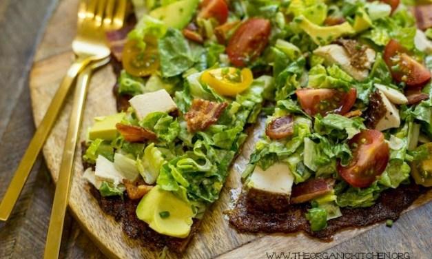 California Chicken Club Salad Pizza! (Cauliflower Crust-Paleo-Keto)