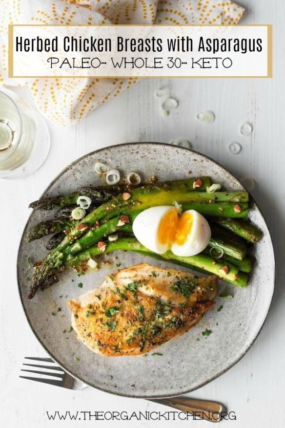 Herbed Chicken Breasts with Asparagus and Mustard Vinaigrette #paleo #whole30 #keto #chickenbreasts #asparagus