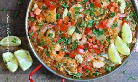 Paella Valenciana with Chicken, Chorizo and Shrimp!