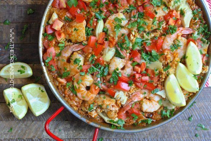 Paella Valenciana with Chicken, Chorizo and Shrimp!