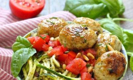 Italian Meatballs with Pesto Zucchini Noodles! (Paleo-Whole30-Keto)
