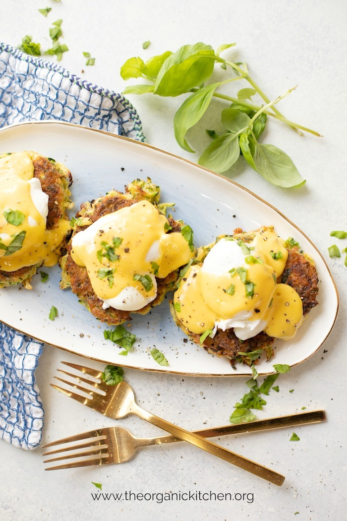 Farmhouse Zucchini Eggs Benedict! (Paleo-Whole30 option) garnished with basil