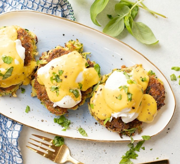Farmhouse Eggs Benedict on Zucchini Fritters! (Paleo-Whole30 option)