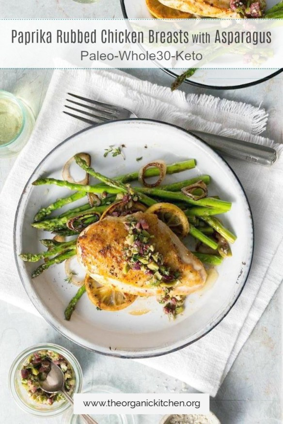 Paprika Rubbed Chicken Breasts with Asparagus #cookingfortwo #recipesfortwo #paprikachicken #keto #whole30