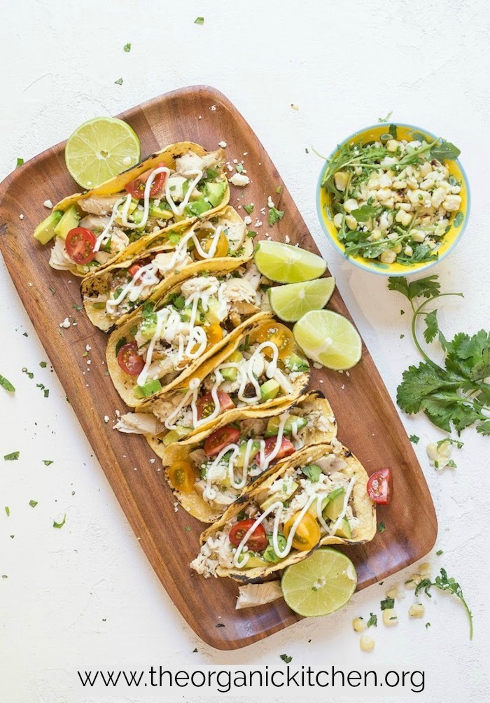 Easy Garlic Lime Chicken Tacos with Lime Crema! #glutenfreetacos #chickentacos #recipesfortwo #limecrema #cookingfortwo