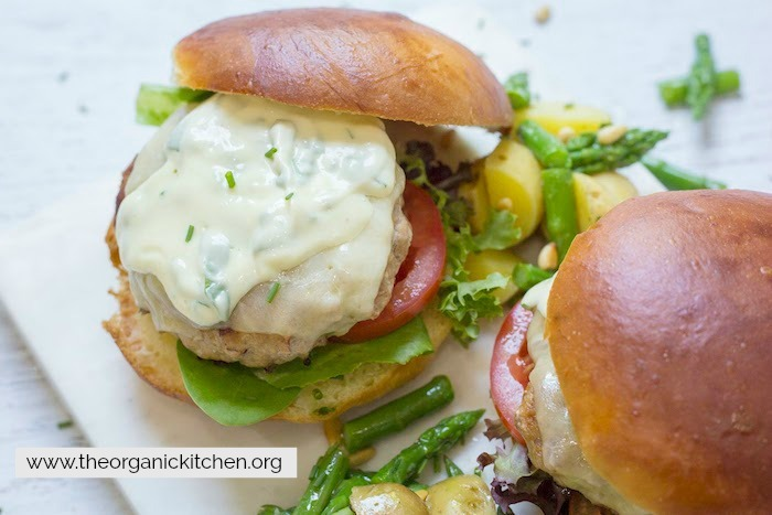 Jalapeño Turkey Burgers with Basil Mayo on brioche buns