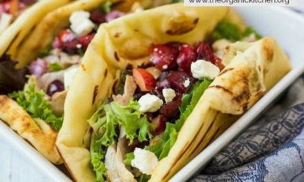 Grilled Naan Chicken Salad Wraps with Cherry Salsa!