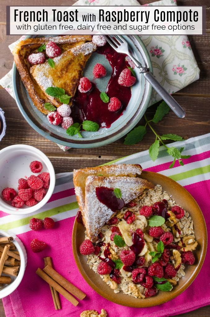 French Toast with Raspberry Compote on tables surrounded by berries and cinnamon sticks
