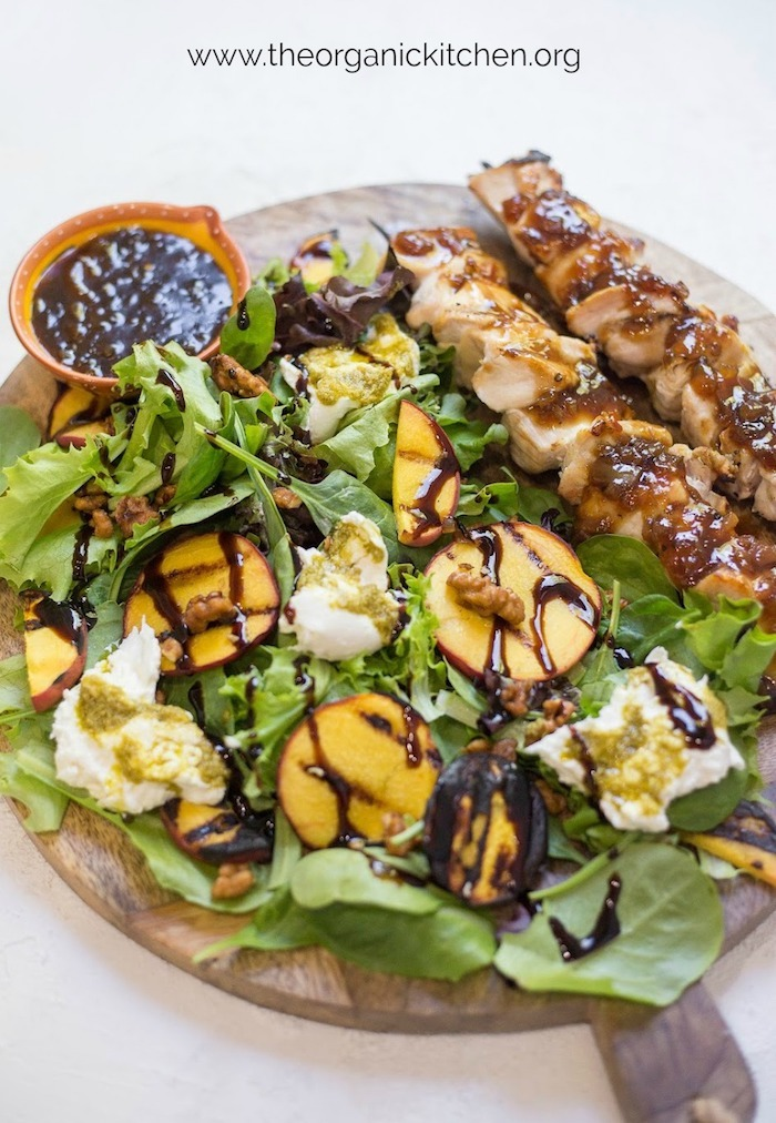 Grilled Peach and Burrata Salad with chicken skewers