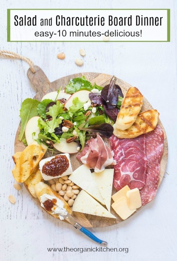Salad and Charcuterie Board Dinner #charcuterie #dinnerboard #glutenfreecharcuterie