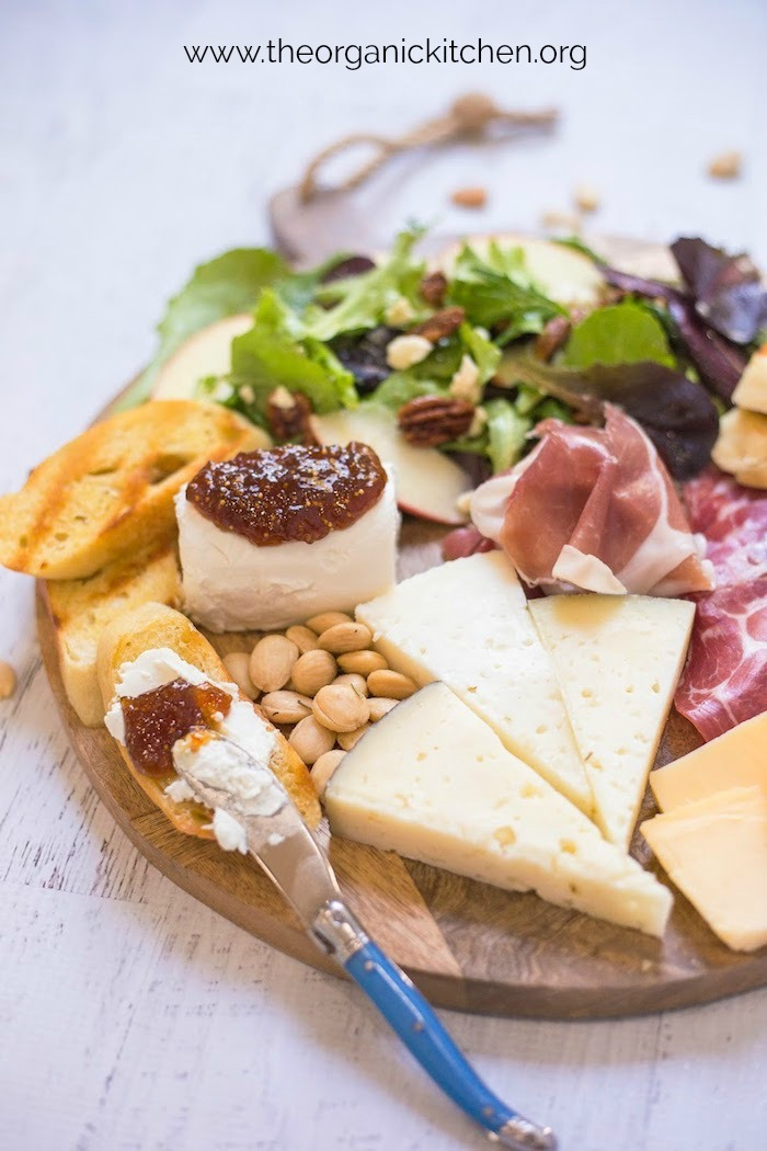 Salad and Charcuterie Board Dinner with blue cheese knife