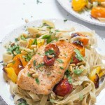 Crispy Salmon with Blistered Tomatoes and Pasta 2