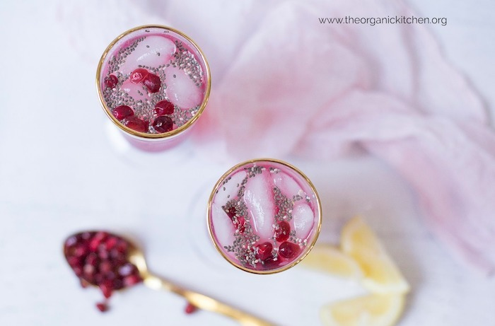 Low Carb Lemon Pomegranate Spritzer with Chia