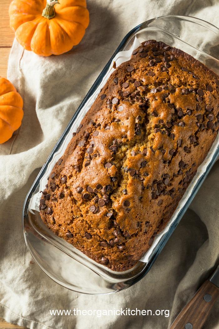 Chocolate Chip Pumpkin Pecan Bread (Gluten free option) in baking dish