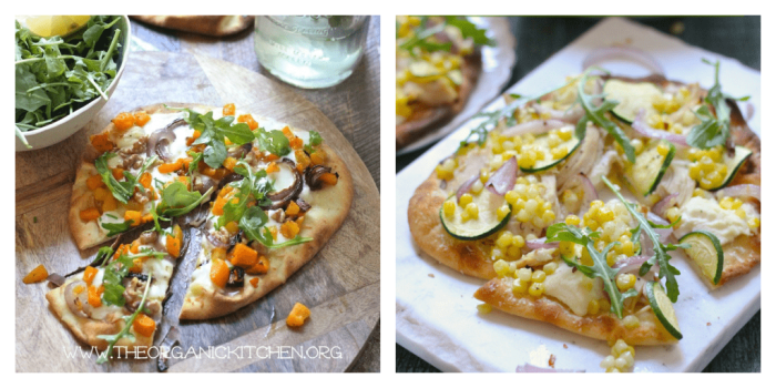 Two grilled naan pizzas