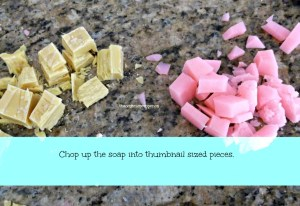 Cut soap into pieces