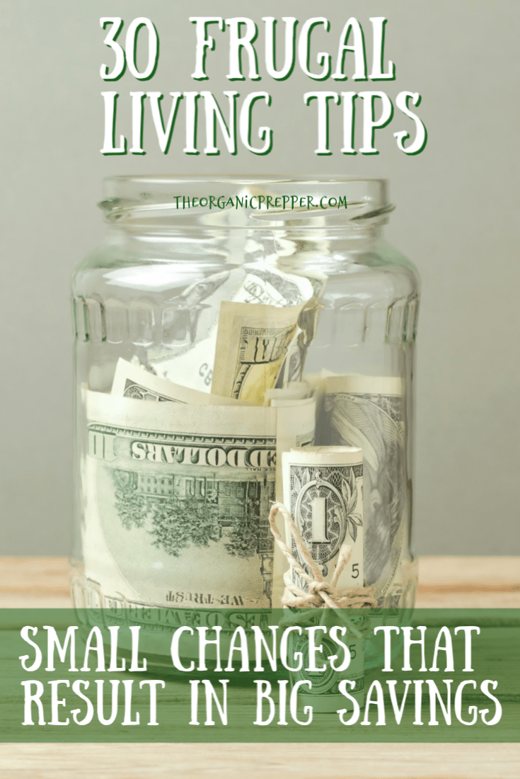 Frugal living doesn\'t have to be difficult or unpleasant. Here are 30 small changes that can result in very big savings.  | The Organic Prepper