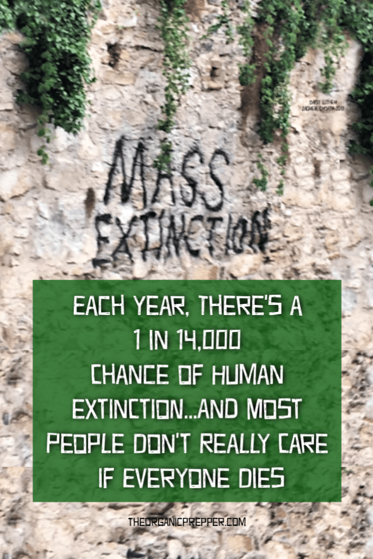 Researchers determined the probability of human extinction due to natural causes each year is one in 14,000. Moreover, most people don\'t really care if everybody dies.