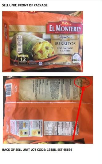 Recall of Frozen Breakfast Burritos