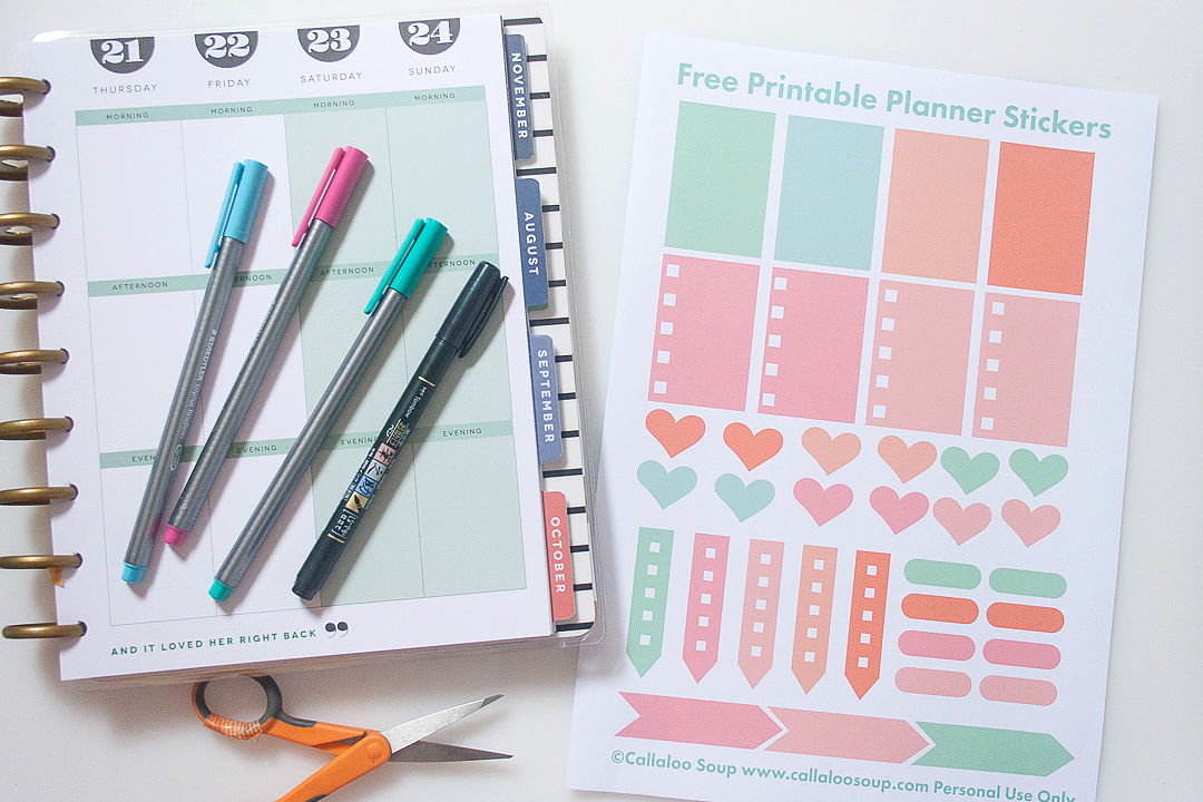 Friday Freebie   Printable Planner & Scrapbook Stickers