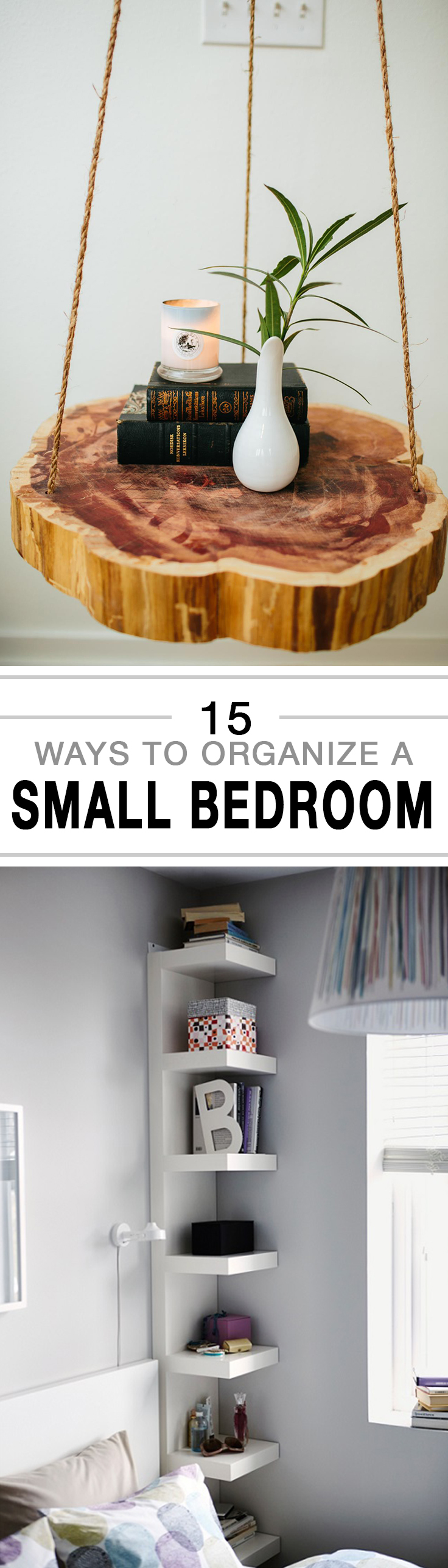 15 ways to organize a small bedroom -