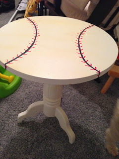 finished table with lines to create a baseball top