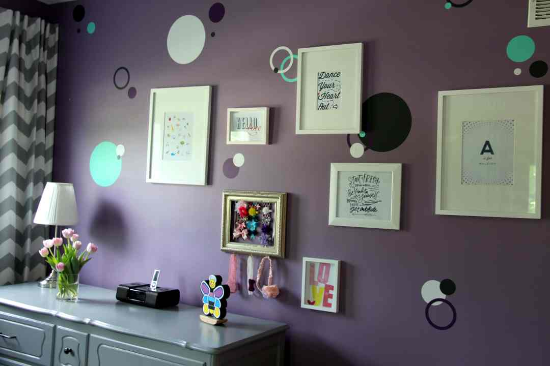 Room Tour: Purple, Teal and Grey Toddler Room - Gallery Wall