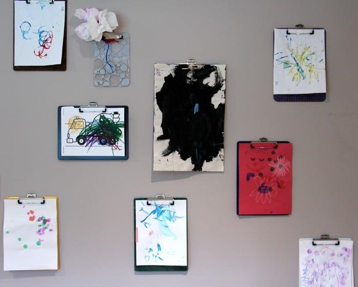Storing Children's Artwork - Clipboard Wall