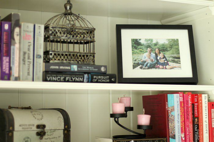 Decorating Living Room Shelves - Family Pic