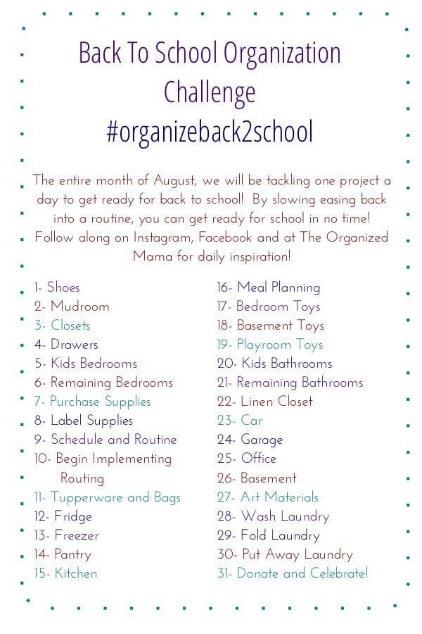 Organize Back To School Challenge Recap