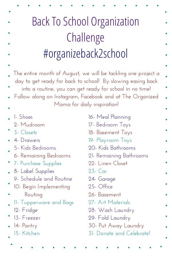 Organize Back To School Challenge Recap