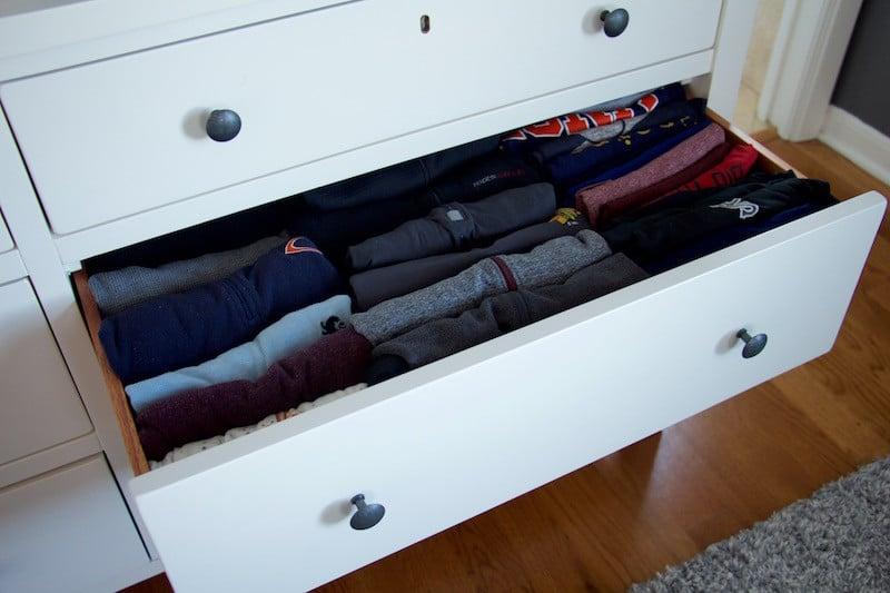 space saving pant drawer organization