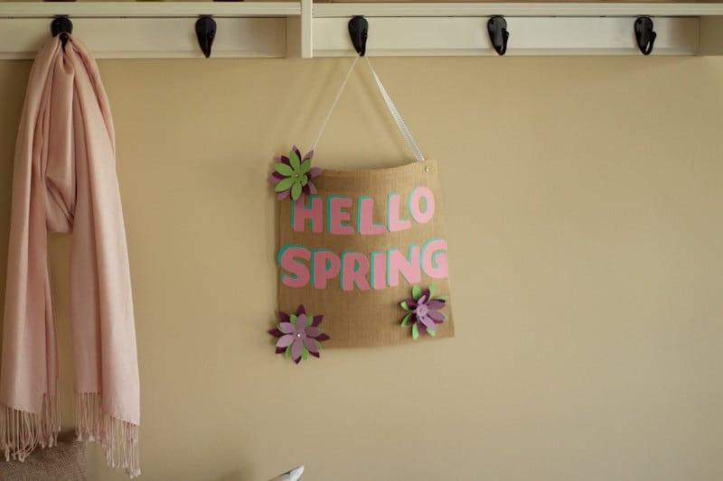 "No-Sew ""Hello Spring"" Burlap Wall Hanging"