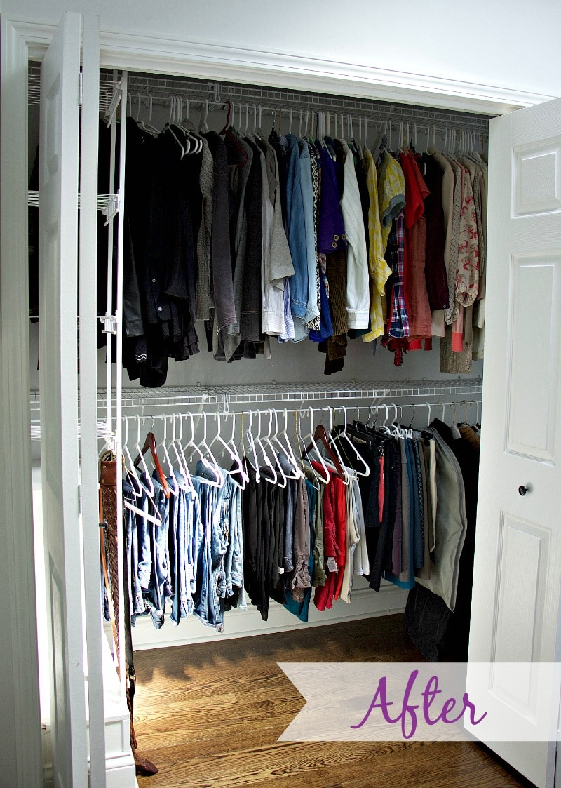 After Closet Organization- all items hanging on hangers based on type of clothing
