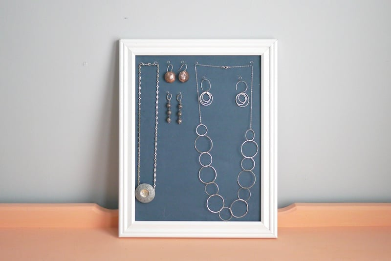 How To DIY A Jewelry Display From A Picture Frame and Pillowcase