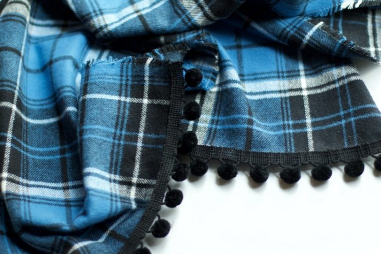Sneak Peek At DIY Blue Plaid Table Runner With Pom Poms
