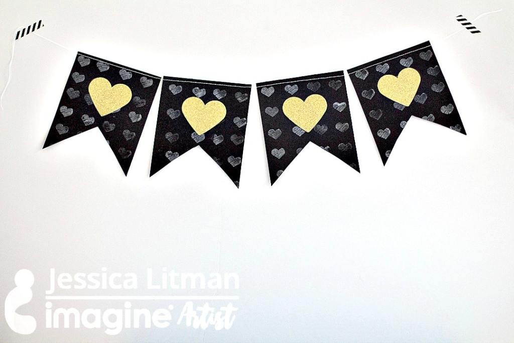 Glittery and Embossed Banner For Valentine's Day