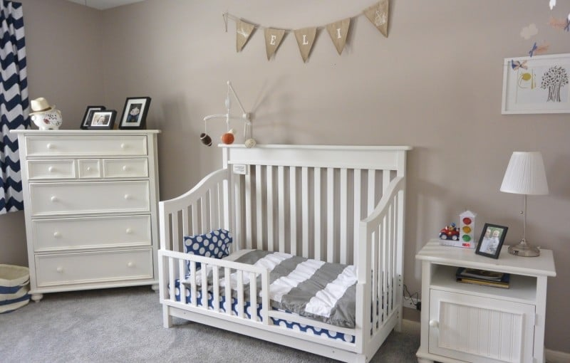 Room Tour: Eli's Navy, Grey and Orange Toddler Room