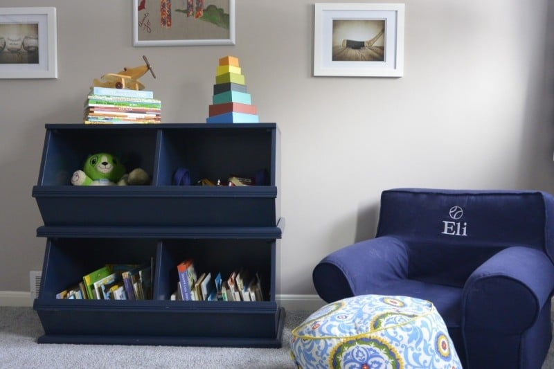 navy, grey, orange toddler room