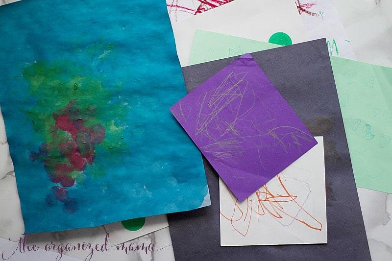 organizing and storing kids artwork