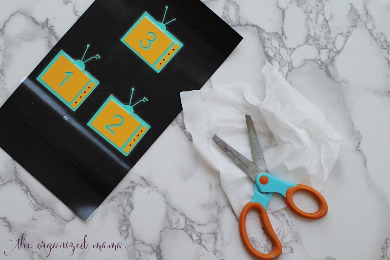 wipe scissors with baby wipe xyron