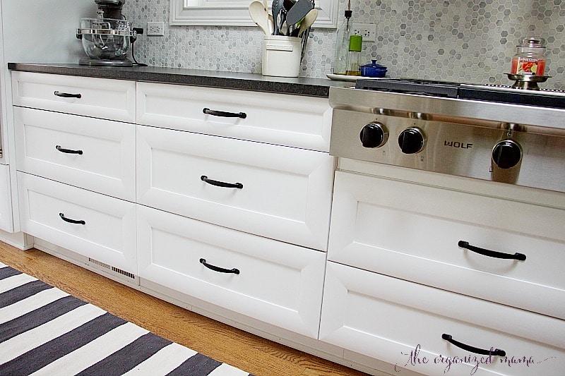 white kitchen inspiration close up drawers