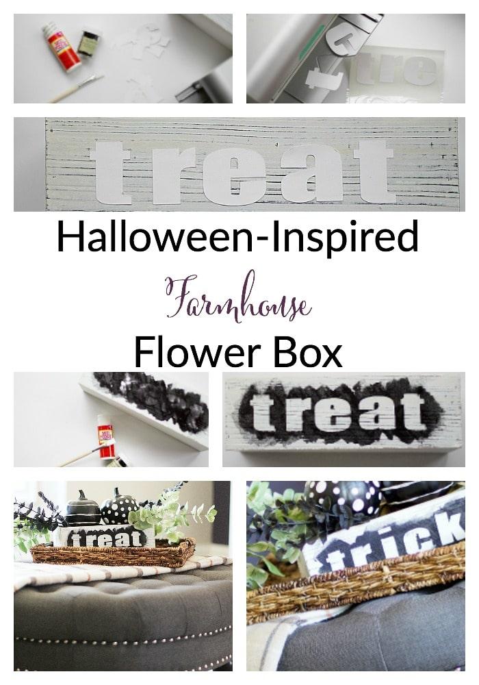 halloween-inspired farmhouse flower box