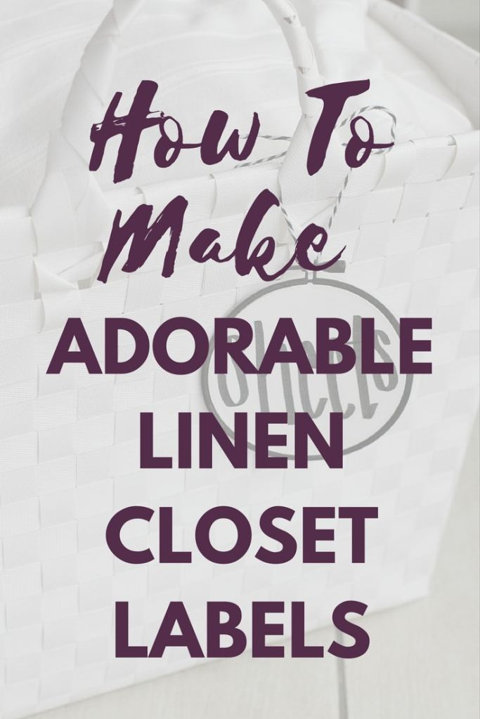 Tutorial for creating adorable linen closet labels that look like embroidery hoops! Plus tips for organizing your linen closets. #organize #linencloset