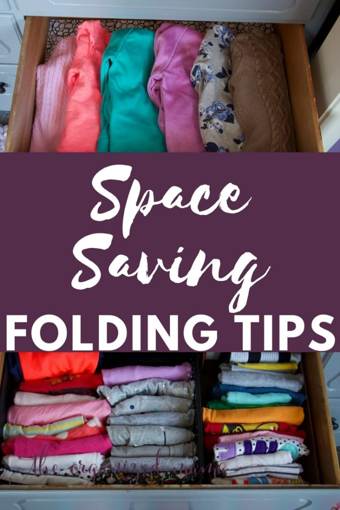 Follow these space saving folding tips to keep tons of space in your drawers. Learn how to file fold and KonMarie fold clothes so you can find everything you need! #organization #konmarie