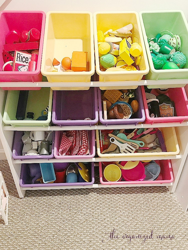 color-coded bins organizng play rooms