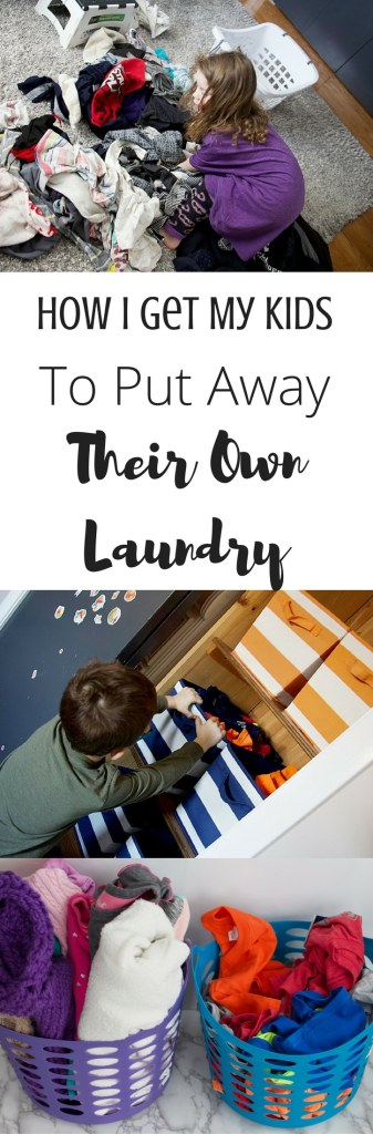 Learn tips and tricks for getting young children to put away their own laundry by setting up systems that work for them. Former teacher and current professional organizer shares her tips for creating systems that the kids can do indpendently! #kidslaundry #kids #clothes