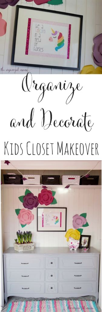 Kids closet makeover full closet paper flowers unicorn picture dresser painted cedar lining. Learn tips for how to transform a kids closet in a small bedroom into useful space by decluttering, reinventing the space, organizing, and decorating to make it feel cozy! #closets #organize