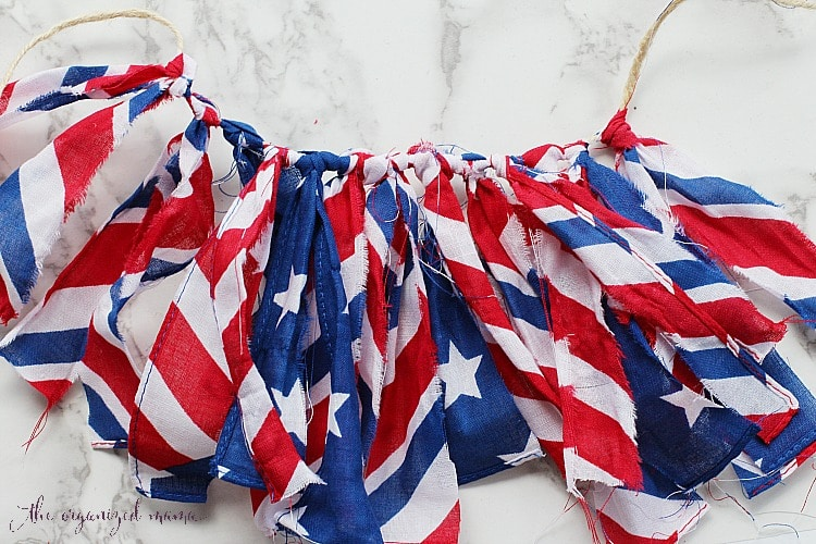 DIY Patriotic Bunting Fabric Banner From The Dollar Store