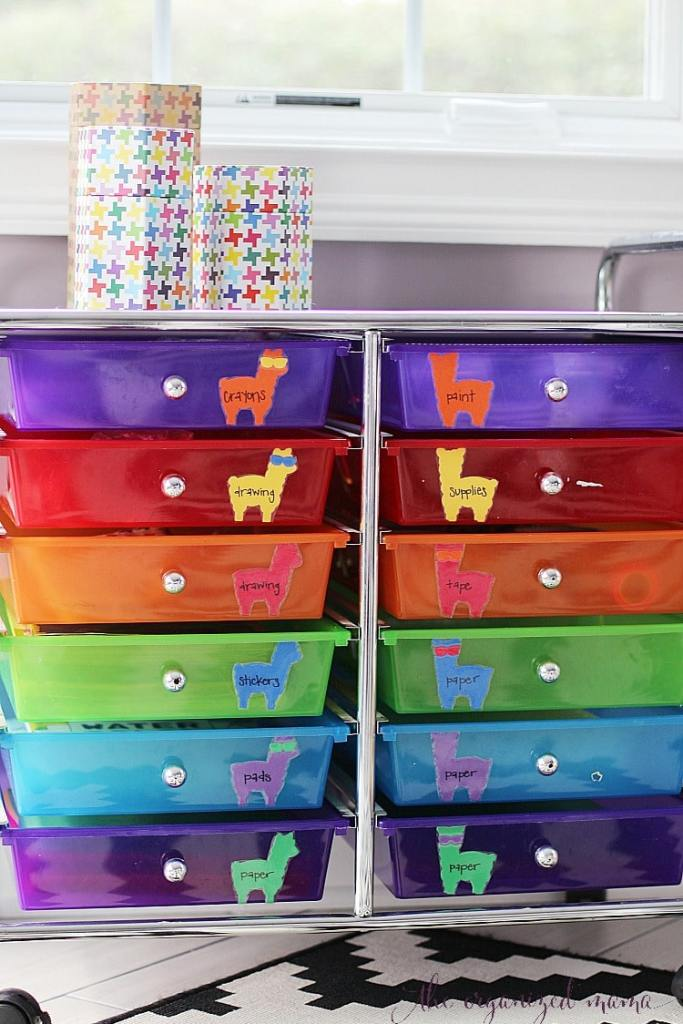 colorful drawers with colorful llama labels on each individual drawer